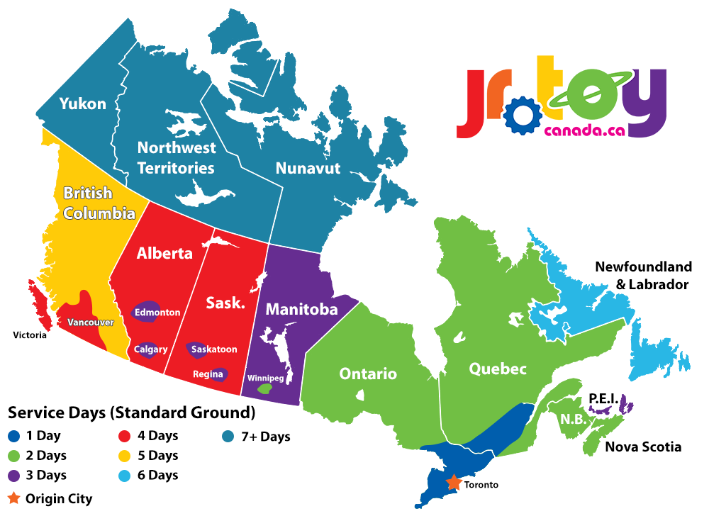 Jr Toy Company Shipping Times Map