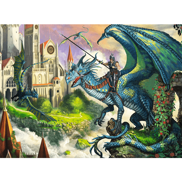 Discontinued Ravensburger Dragon Rider 100 Piece Puzzle