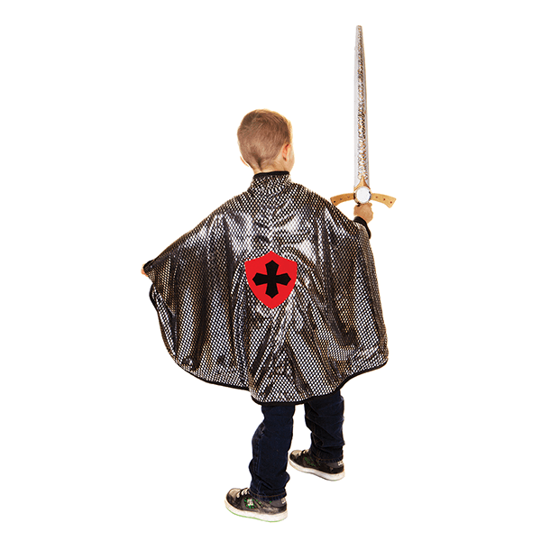 Great Pretenders Reversible Dragon Knight Green & Silver Cape (Size 4-6)