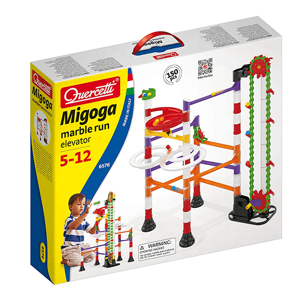 Quercetti Migoga Marble Run with Elevator, 150 Piece Building Set
