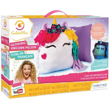 Make It Real Goldie Blox DIY Glowing Unicorn Pillow