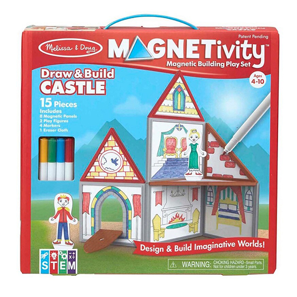 Melissa & Doug Magnetivity Draw & Build Castle