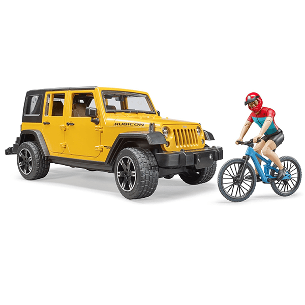 Bruder Jeep Wrangler Rubicon Unlimited with Mountain Bike and Cyclist