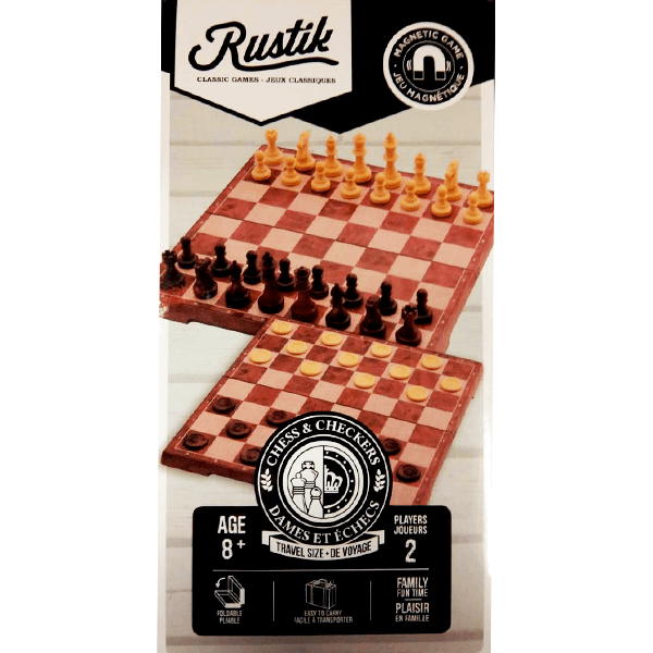 Rustik Magnetic Chess & Checkers (Peachwood Edition)