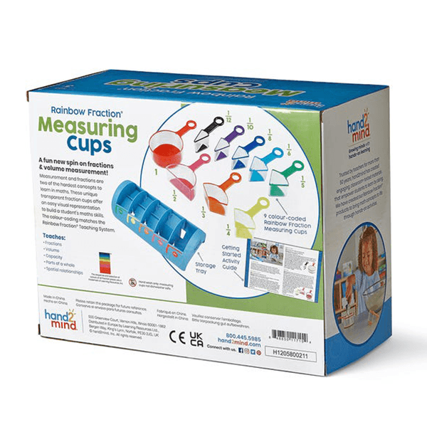 Hand2Mind Rainbow Fraction Measuring Cups - Set of 9