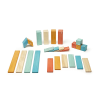 Tegu 24 Piece Magnetic Wooden Block Set, Sunset